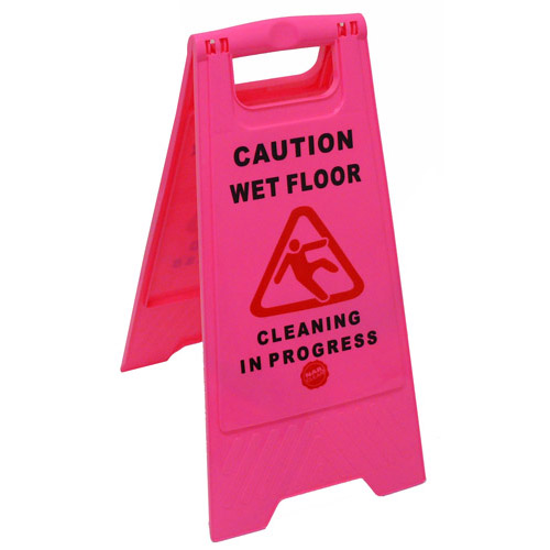 CAUTION WET FLOOR CLEANING IN PROGRESS PINK SAFETY SIGN