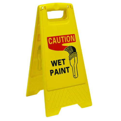 CAUTION WET PAINT SIGN YELLOW